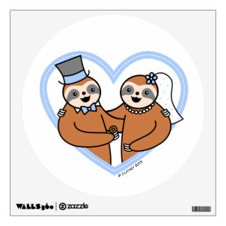 Cute Sloth Wedding Couple Wall Decal