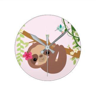 Cute Sloth with hummingbird Round Clock