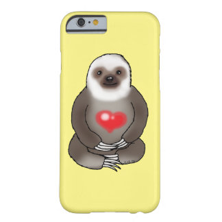 cute sloth with red heart barely there iPhone 6 case