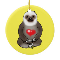 cute sloth with red heart ceramic ornament