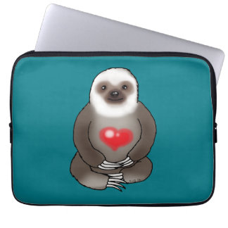 cute sloth with red heart laptop sleeve