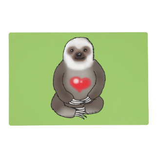 cute sloth with red heart placemat