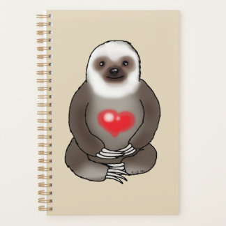 cute sloth with red heart planner
