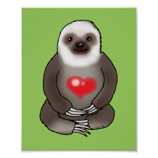 cute sloth with red heart poster