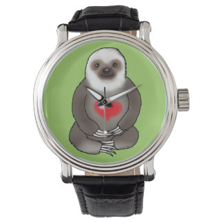cute sloth with red heart wrist watch