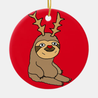 Cute Sloth with Reindeer Antlers Christmas Art Ceramic Ornament
