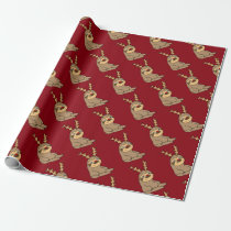 Cute Sloth with Reindeer Antlers Christmas Art Wrapping Paper