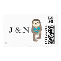 Cute Sloth With Teal Heart Monogram Postage Stamp