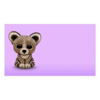 Cute Small Baby Bear Cub on Purple Business Card Templates