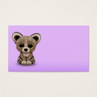 Cute Small Baby Bear Cub on Purple Business Card
