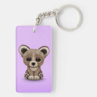 Cute Small Baby Bear Cub on Purple Keychain
