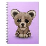 Cute Small Baby Bear Cub on Purple Note Books