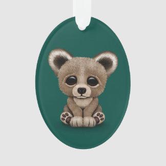 Cute Small Baby Bear Cub on Teal Blue Ornament