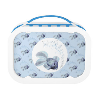 Cute small blue fish lunch box