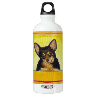 Cute small dog art black and tan chihuahua minpin water bottle