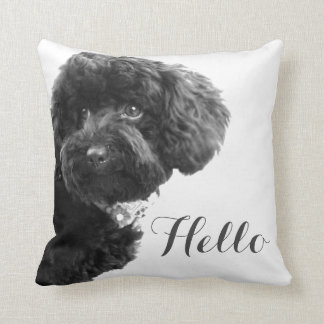 Cute Small Dog Puppy Toy Poodle Hello Custom Pillow