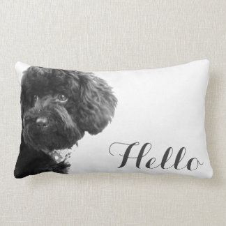 Cute Small Dog Puppy Toy Poodle Hello Custom Throw Pillow