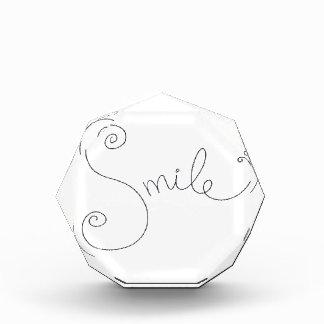 cute smile doodle black white design acrylic award