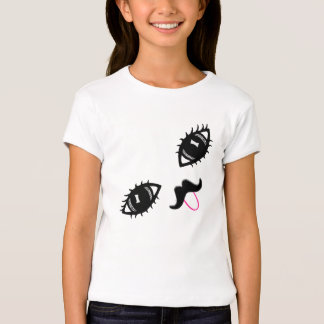 Cute Smile Mustache Tongue Sticking Out Girl Shirt