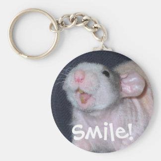 Cute Smile Rat Basic Round Button Keychain