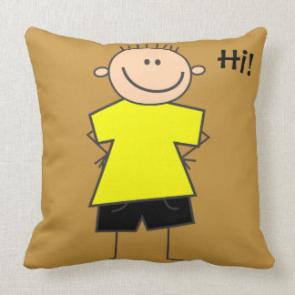 Cute Smiley Boy Stick Figure Throw Pillow