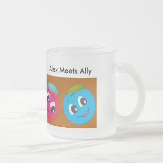 Cute Smiley Character Alex Meets Ally Frosted Glass Coffee Mug