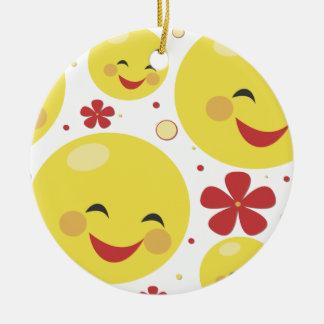 Cute smiley face flowers kawaii ornament