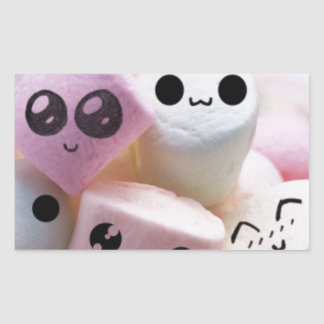 cute smiley face marshmallows rectangular sticker