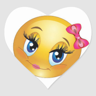 Cute Smiley Face with Bow Heart Sticker