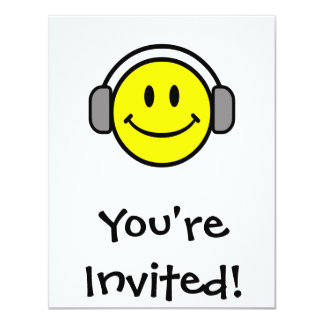 cute smiley face with headphones invitation