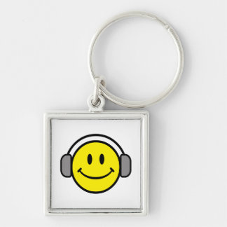 cute smiley face with headphones keychain