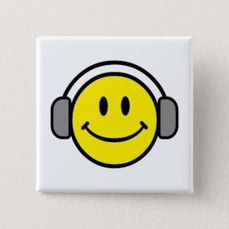 cute smiley face with headphones pinback button