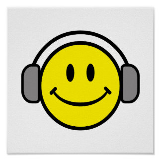 cute smiley face with headphones poster