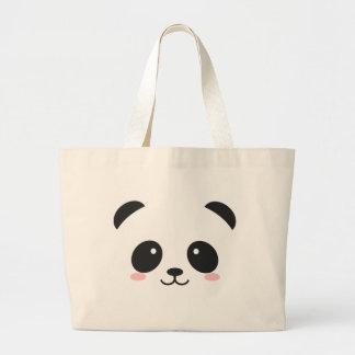 Cute Smiley Panda Large Tote Bag