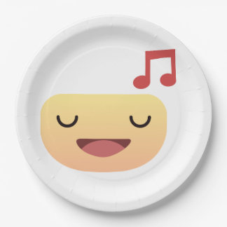 Cute Smiley singing Paper Plate