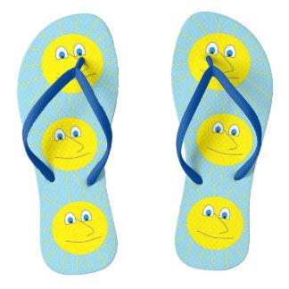 Cute Smiley Sun Pattern Light Blue Flip Flops