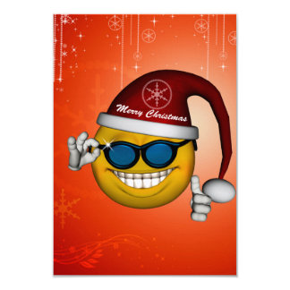 Cute smiley with santa hat 3.5x5 paper invitation card