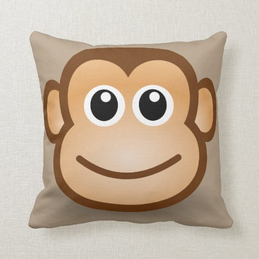 Cute smiling animated monkey throw pillow Zazzle