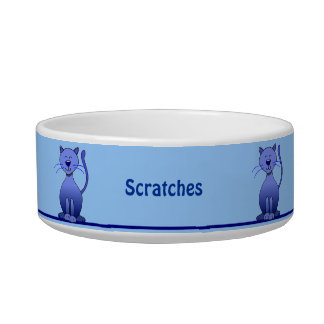Cute Smiling Blue Cat Personalized Pet Bowl