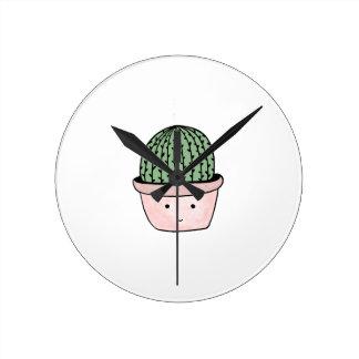 Cute smiling cactus round clock
