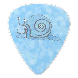 Cute Smiling Cartoon Blue Snail White Delrin Guitar Pick