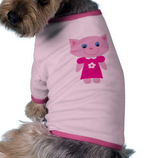 Cute Smiling Cartoon Cat In Pink Dress Custom Pet Clothes