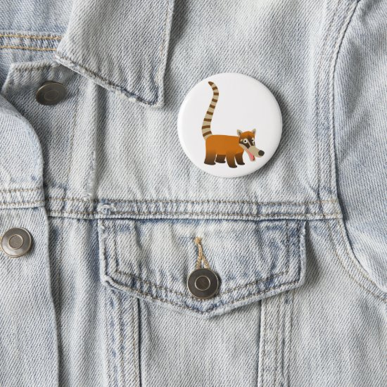 Cute Smiling Cartoon Coatimundi Button
