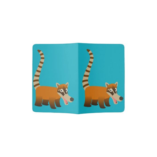 Cute Smiling Cartoon Coatimundi Passport Holder