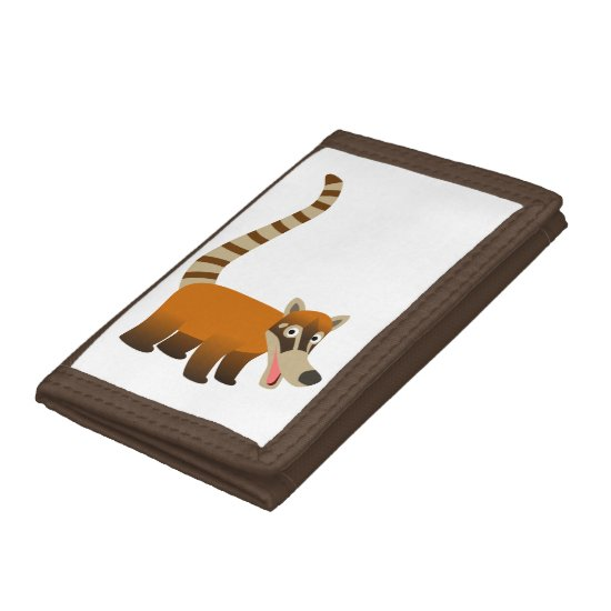Cute Smiling Cartoon Coatimundi Tri-fold Wallet