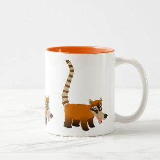 Cute Smiling Cartoon Coatimundi Two-Tone Coffee Mug