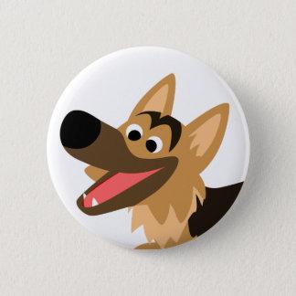Cute Smiling Cartoon German Shepherd Button Badge