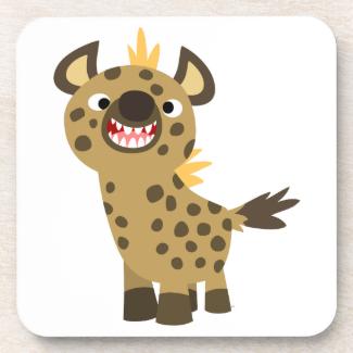 Cute Smiling Cartoon Hyena Coasters Set