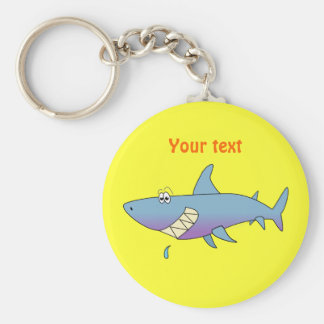 Cute Smiling Cartoon Shark Customizable Template Keychain