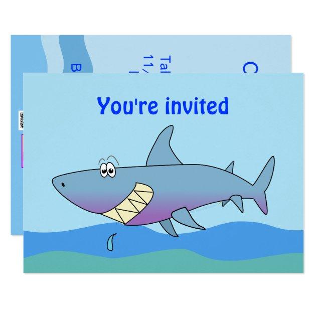cute smiling cartoon shark party invitations  zazzle, party invitations